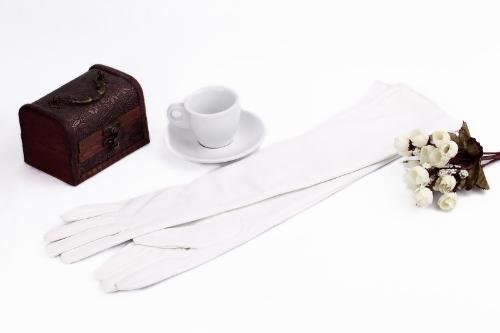 Buy Fashion Elegant Women Gloves Soft PU Leather Arm Long Evening Party White