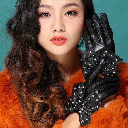 Buy Fashion Elegant Women Gloves Soft PU Leather Bow Rivets Short Black