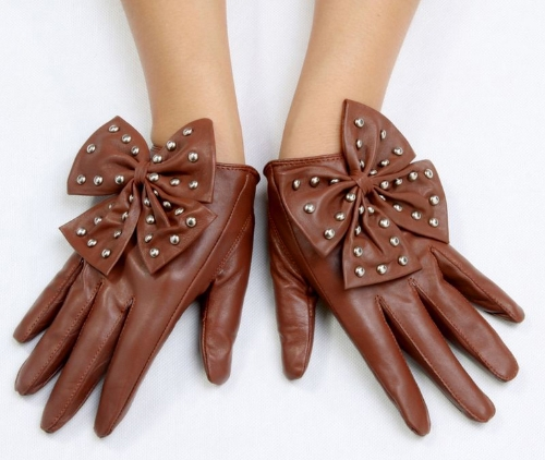 Buy Fashion Elegant Women Gloves Soft PU Leather Bow Rivets Short Brown