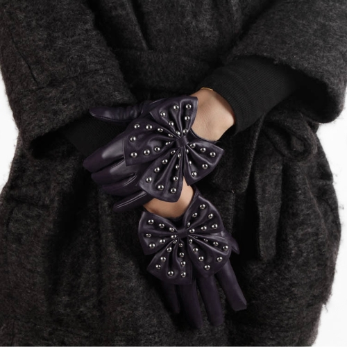 Buy Fashion Elegant Women Gloves Soft PU Leather Bow Rivets Short Purple