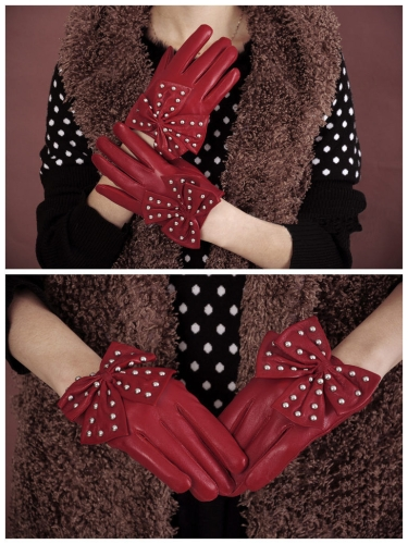 Buy Fashion Elegant Women Gloves Soft PU Leather Bow Rivets Short Red