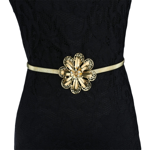 New Fashion Women Belt Metal Gold Tone Finish Floral Rhinestone Hollow Out Stretchy Chain Golden