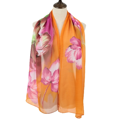 New Fashion Women Scarf Chiffon Floral Print Contrast Color Block Long Spring Autumn Pashmina