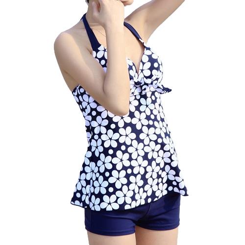 Sexy Women Swimwear Flower Print Halter Neck Push-up Bathing Suit Shorts Tankini Set Blue/Black