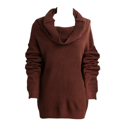 New Fashion Women Sweater Solid Cowl Neckline Long Raglan Sleeves Ribbed Oversized Casual Knittwear Pullover