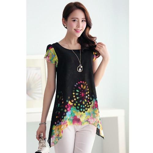 Buy Fashion Women Chiffon Blouse Floral Print Hollow Overlay Petal Sleeves Tops Black