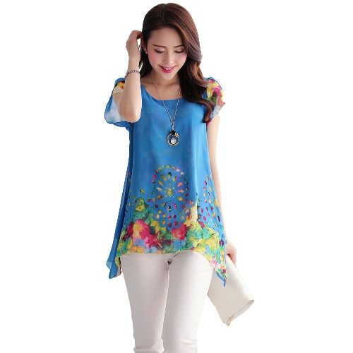 New Fashion Women Chiffon Blouse Floral Print Hollow Out Overlay Petal Sleeves Tops Black