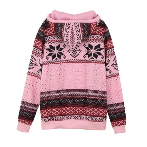 Women Hoodie Snowflake Print Long Sleeve Pullover Christmas Sweatshirt Sportwear White/Pink/Green