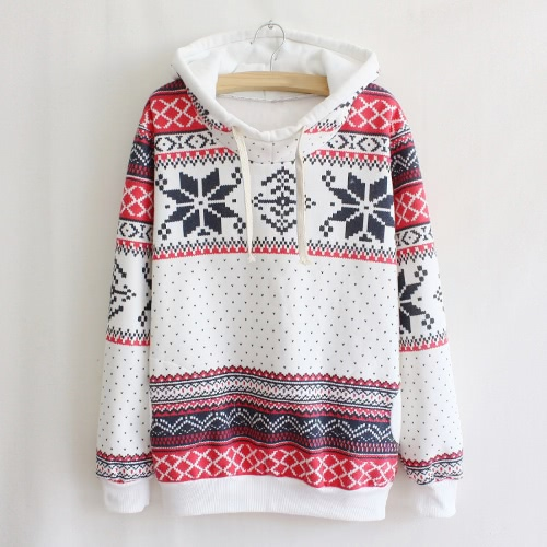 Fashion Women Hoodie Snowflake Print Long Sleeve Pullover Christmas Sweatshirt Sportwear White/Pink/Green