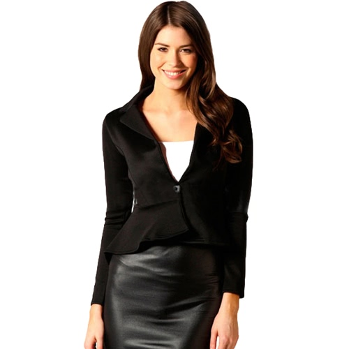 Buy Fashion Women Blazer Button Front Long Sleeve Irregular Hem Slim Short Jacket Coat Outerwear