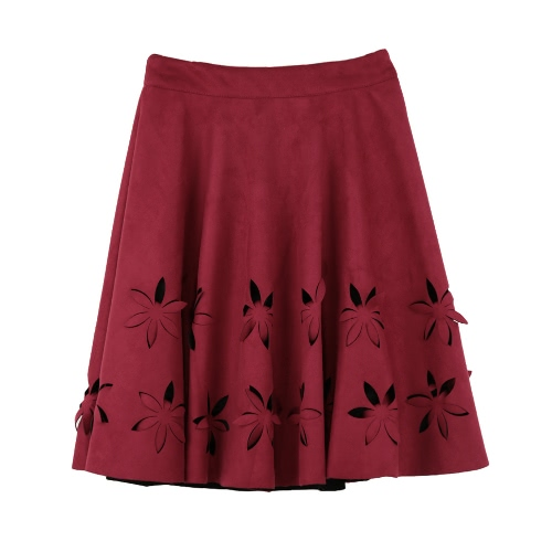 Chic Faux Suede Hollow Flower High Waist Pleated A-Line Women's Skirt от Tomtop.com INT