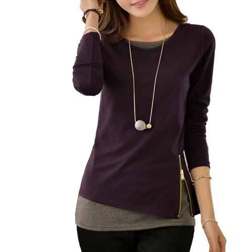 Buy Korean Women T-shirt False Two Piece Contrast Hem Side Zipper Round Neck Long Sleeve Slim Blouse Basic Shirt Top