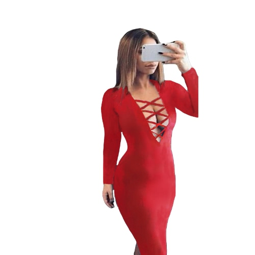 New Fashion Women Dress Plunge V Neckline Criss Cross Straps Front Long Sleeve Bodycon Fit Sexy Midi One-Piece