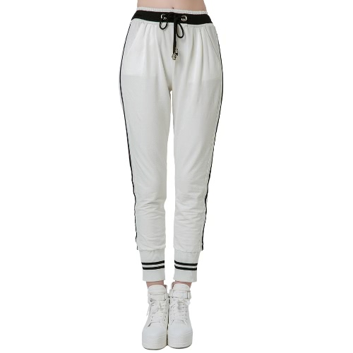 Casual Woman Stripes Elastic Waistband Drawstring Yoga Sport Harem Pants