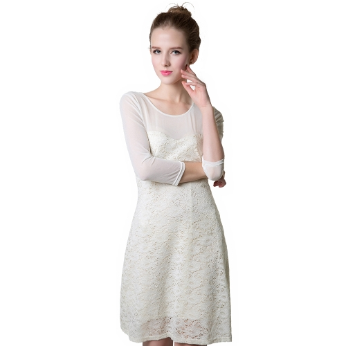 Buy Sexy Women Floral See Mesh O Neck 3/4 Sleeve Party Sweet Dress Lace Mini