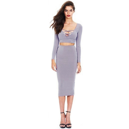 Buy Sexy Women Two-piece Dress Crossing Lace Deep V Neck Long Sleeve Tops Bodycon Mini Pencil Skirt