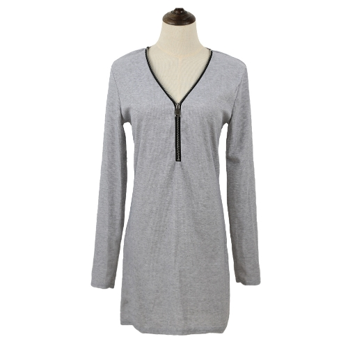 Buy Sexy Women Zipper Solid Color V Neck Long Sleeve Bodycon Mini Dress