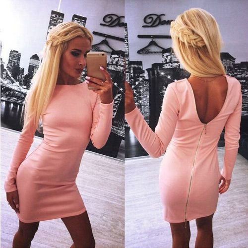 Buy Europe Women Sexy Dress Back Zipper Long Sleeves O-Neck Solid Color Bodycon Mini Pencil Black/Red/Pink