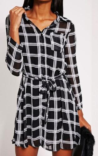 New Fashion Women Chiffon Check Print Shirt Dress Button Placket Long Sleeve Belted Top Black