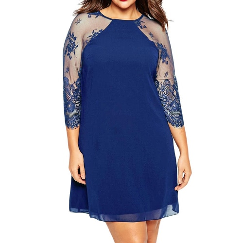 New Fashion Women Mini Chiffon Dress Lace 3/4 Raglan Sleeves O Neck Plus Size Casual Shift Dress Blue