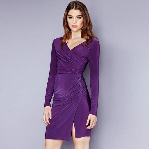 Buy Fashion Women Dress Deep V-neck Long Sleeve Cross Fold Split Irregular Hem Slim Purple