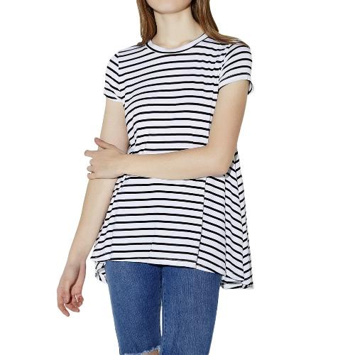 Buy Europe Fashion Women Basic T-Shirt Cotton Striped O Neck Short Sleeve Loose Casual Top White