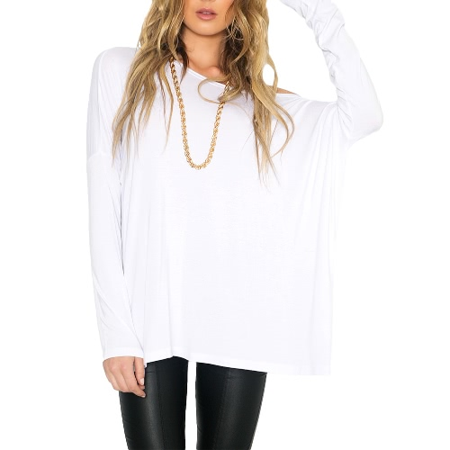 New Europe Women Loose T-Shirt O Neck Off Shoulder Long Sleeve Casual Solid Fashion Tee Top Pullover Black/White