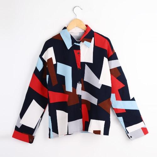 Buy Fashion Women Shirt Button Geometric Print Turn-down Collar Long Sleeve Blouse Green/Blue