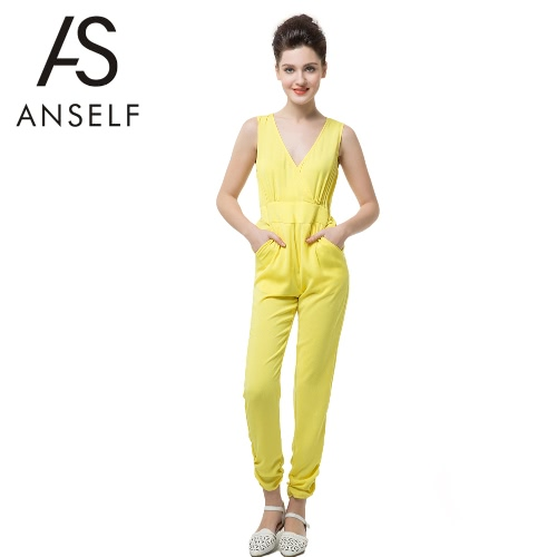 New Sexy Women Jumpsuit Deep V Neck Cross Sleeveless Key-Hole Button Elastic Waist Rompers Yellow