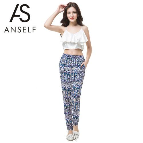 Buy Europe Women Harem Pants Geometric Print Elastic Waist Pockets Bohemian Causal Loose Trousers Blue