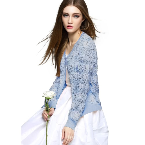 Buy Fashion Women Knit Coat Crochet Lace Hollow Button Front O Neck Long Sleeve Slim Open Knitwear Outerwear