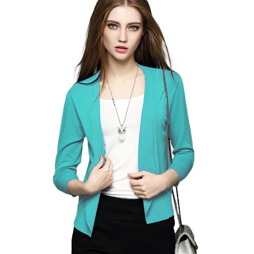 Buy Spring Women Knitted Cardigan Lapel Open Front Long Sleeves Casual Slim Coat Outwear Knitwear