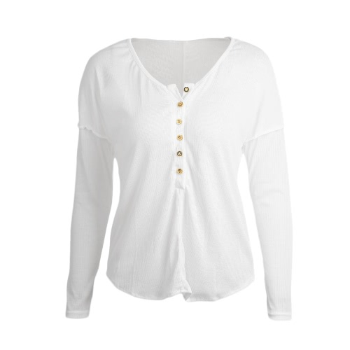 Fashion Button Long Sleeve Women's Solid Color T-Shirt