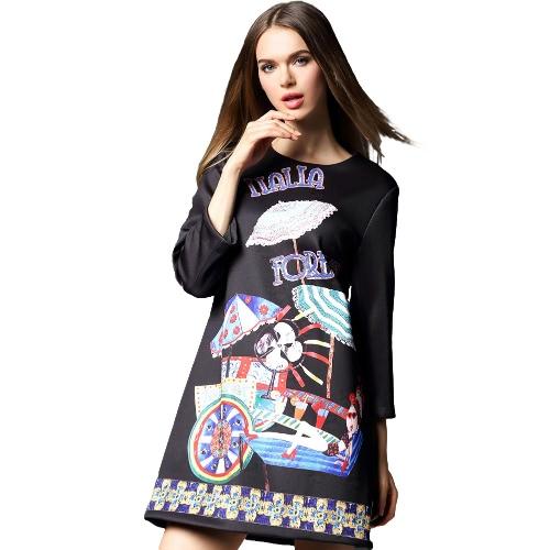 Buy Fashion Women Mini Dress Letter Cartoon Print Zipper O-Neck 3/4 Sleeves Elegant A-Line Rose/Black