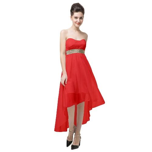 Buy Fashion Women Dress Lace Bandeau Top Belt Shoulder Open Back Irregular Hem Sexy Part