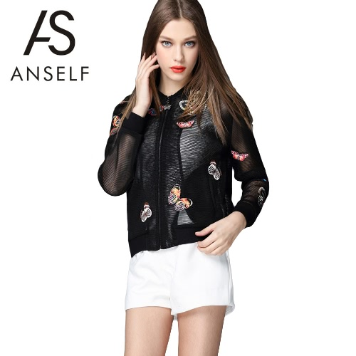 Buy Fashion Women Outerwear Mesh Hollow Butterfly Embroidery Long Sleeve Zipper Thin Coat Cardigan Black