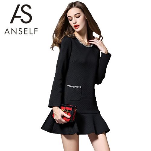 Buy Women Mini Space Cotton Dress Mermaid Hem Nail Drill Zipper O-Neck Long Sleeves Elegant A-Line OL Black