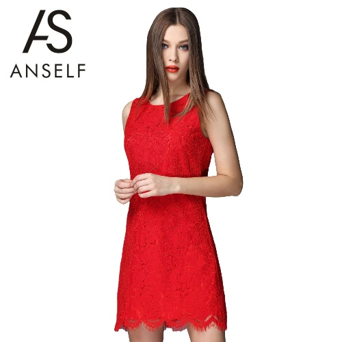 Buy Women Mini Dress Floral Lace O-Neck Sleeveless Zipper Elegant Slim Party Evening Banquet Red