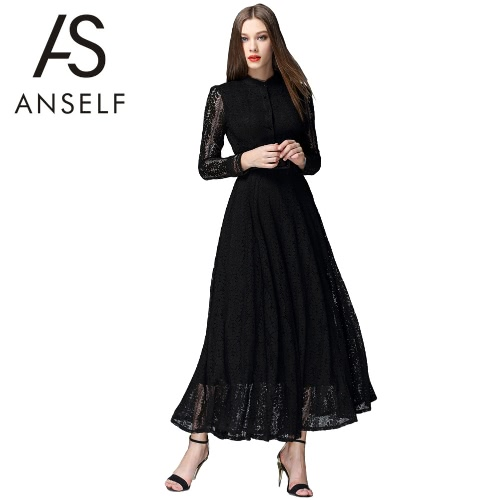 Buy Women Maxi Dress Floral Lace Hollow Long Sleeves Button Elegant Party Evening Banquet Black