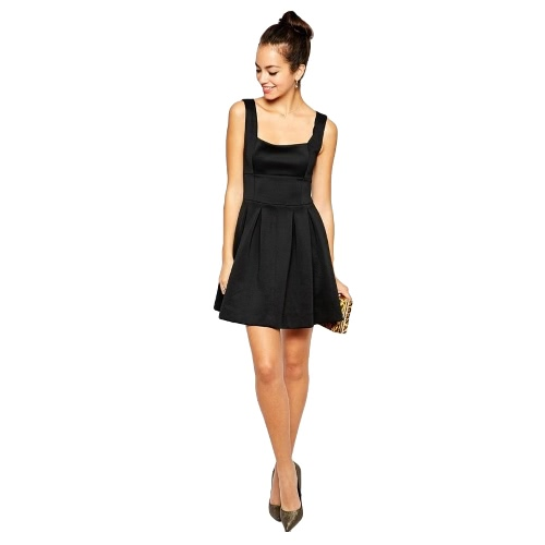 Buy European Women Mini Dress Solid Color Sleeveless High Waist Slim Elegant A-line Skater Black/White/Rose