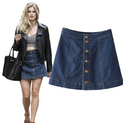 Buy Fashion Women Denim Skirt Jeans Button Front High Waist OL Casual A-Line Short Mini Blue