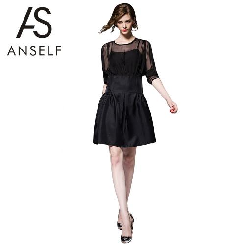 Buy Sexy Europe Women Mini Dress Chiffon Splice Mesh Lace Hollow Long Sleeve Slim Two-piece A-line Party Clubwear Black