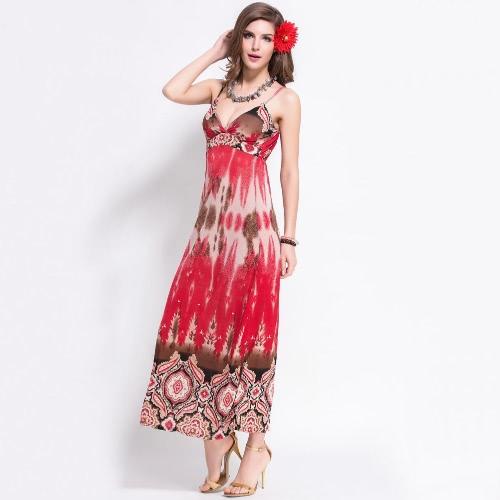 Buy Fashion Bohemian Women Maxi Dress Retro Print Spaghetti Strap Padded Beach Long Red