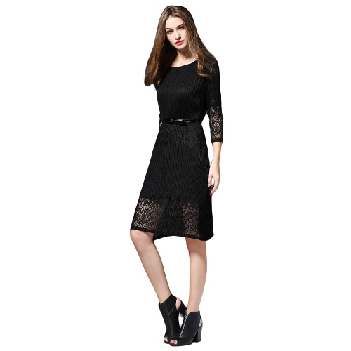 Buy Elegant Women Midi Dress Hollow Solid Color O Neck 3/4 Sleeve Belt Slim Party Black/Burgundy