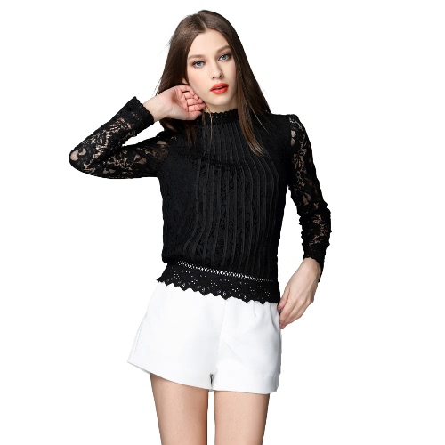 Buy Fashion Women Crochet Blouse Hollow Sheer Lace Stand Collar Long Sleeve Ruching Sexy Slim Top Black/White