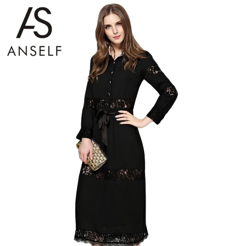 Buy Sexy Women Dress Lace Hollow Button Tie Waist Turn-Down Collar Long Sleeve Party Black