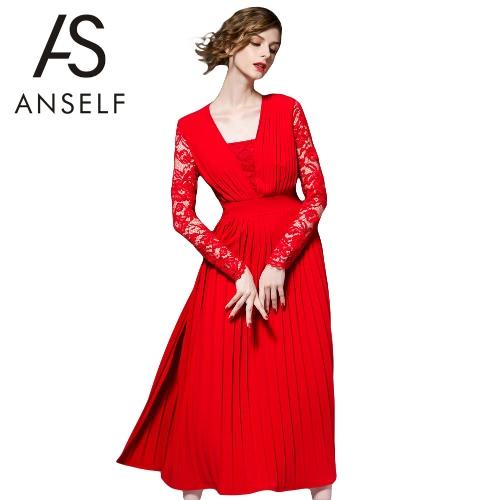 Buy Sexy Women Solid Color Dress Lace Long Sleeve Ruffle Fold Split Hem Slim Red