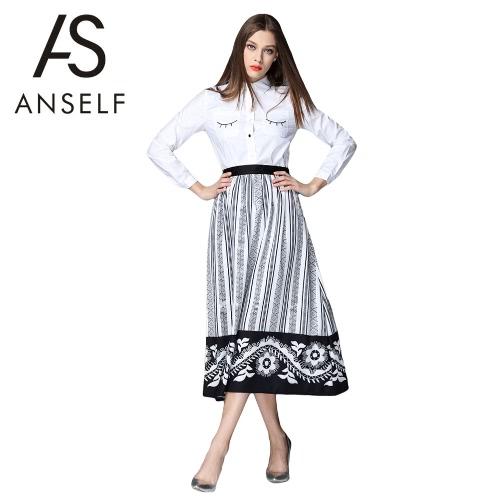 Buy Vintage Women Midi Skirt Stripe floral Print High Waist Pleated OL Work Long A-Line Skater White