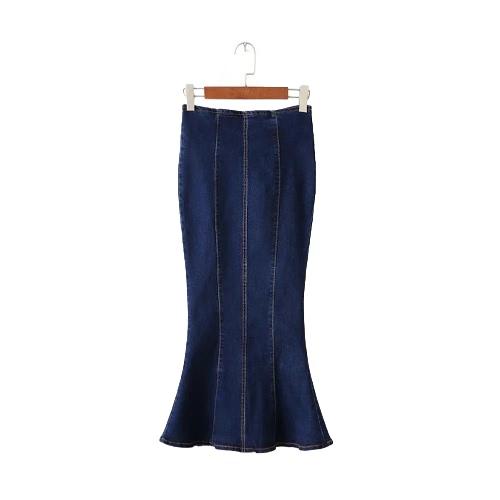 Buy Fashion Women Midi Denim Skirt Mermaid Hem Package Hip Zipper Solid Color Casual Bodycon Blue