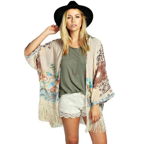 Buy Vintage Women Chiffon Kimono Floral Print Tassels Fringed Loose Sheer Cardigan Outerwear Blouse Beige